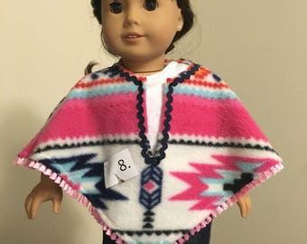 "Fleece Poncho for 18"" Dolls SHIPS FREE"