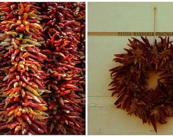 Chili Peppers,  Hanging Peppers, Pepper Photography Set, Hanging Ristras, Red Chiles, Two 5x7 Prints, New Mexico Prints, Mexican Decor