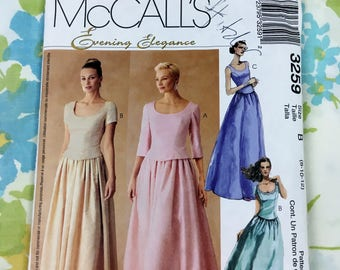 Vintage McCall's Evening Elegance Top and Skirt Sewing Pattern - Sizes 8, 10, 12