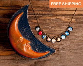 Solar system necklace, statement necklace, space jewelry, space necklace, galaxy necklace, birthday gift for women, gift for her