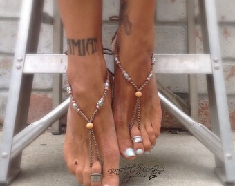 Mother Earth Creatress Barefoot Sandals By Iris Boho Bohemian Hippie jewelry anklet beach hippie indie gypsy summer style sandels pool shoes