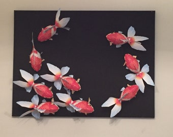 Wall art paper craft goldfishes on black canvas