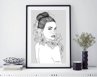 """Print """"Girl with orchids"""""""