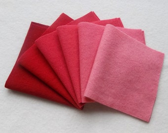 """Hand Dyed Felted Wool Gradation, RUBY, Value Gradient in Rich Reds and Warm Pinks, 6 pcs. 6.5"""" x 16"""" Each"""