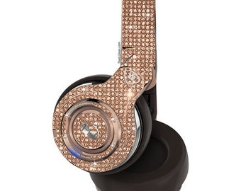 Custom Rose Gold Elements Monster Bedazzled Headphones made with Swarovski Crystals, Wireless Over-Ear Monster Headphones, Bling headphones
