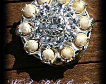 Rhinestone and Pearl Vintage Button Bindi - Mermaid, Tribal, Belly Dance, Steampunk, Ivory, White, Round