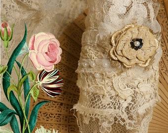 Tattered Lace Wrist Cuff, Boho Bridal Fabric Bracelet, Upcycled Vintage Laces