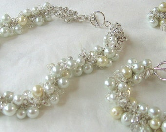 Bridal Wedding SET, A TOUCH  of  CREAM , Ivory, Soft White, Pearl Crystal, Necklace - Bracelet - Earrings Exclusive  by Sereba Designs