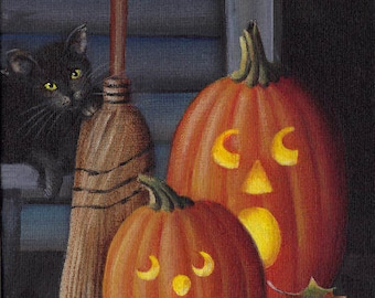 Halloween Porch Greeters 5 X 7 Original Acrylic Painting