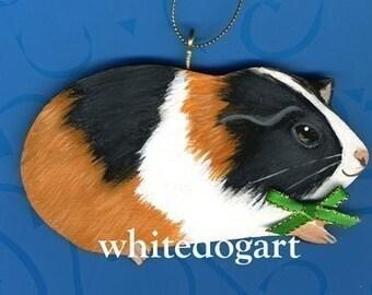 Tri Color Guinea Pig Christmas Ornament