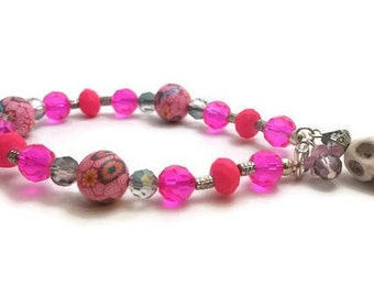 Pink Dia de los Muertos/Day of the Dead Beaded Bracelet