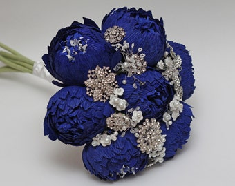 brooch bouquet, wedding bouquet, alternative bouquet, paper flower bouquet, bridal bouquet, blue peonies bouquet