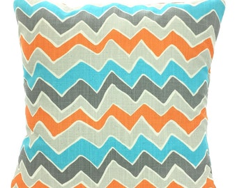 SALE Orange Aqua Gray Chevron Decorative Throw Pillow Covers, Cushions, Orange Aqua Grey Cream, See Saw Couch Bed Sofa 12 x 16 or 12 x 18