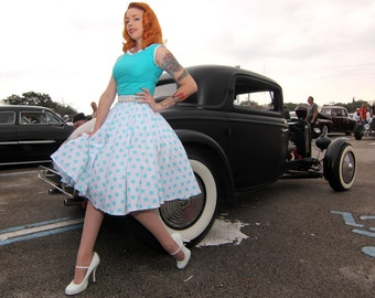 Vintage Style Circle Skirt with Teal Polka Dots