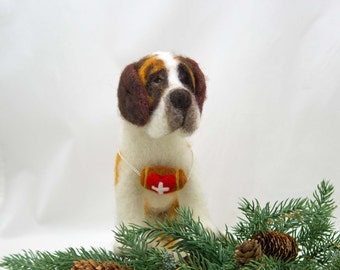 Needle Felted Dog  #EtsyGifts St Bernard Sculpture Wool Sculpture Christmas Gift Wool Fiber Dog