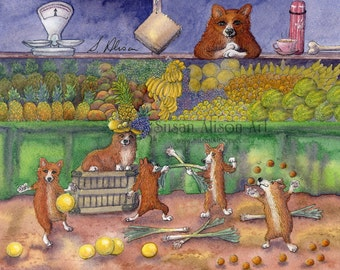 Welsh Corgi dog 5x7 8x10 11x14 print pups playing with their food down the fruit veg market melons leeks pineapple apples pears Susan Alison