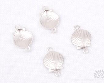 P662-MR// Matt Rhodium Plated Scallop Seashell Pendant Connector, 4 pcs