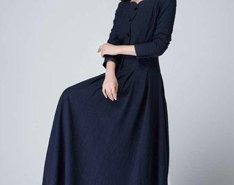 linen button dress, linen dress, blue linen dress, long linen dress, long sleeves dress, pleated dress, shirt dress, linen clothing 1469