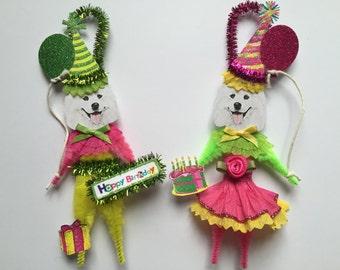 Samoyed BIRTHDAY ornaments DOG ornaments vintage style chenille ORNAMENTS set of 2