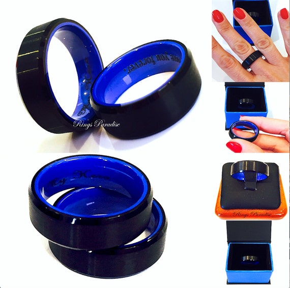 Plastic Wedding Bands >> Tungsten Wedding Bands Men Engagement Ring Black Blue Mens