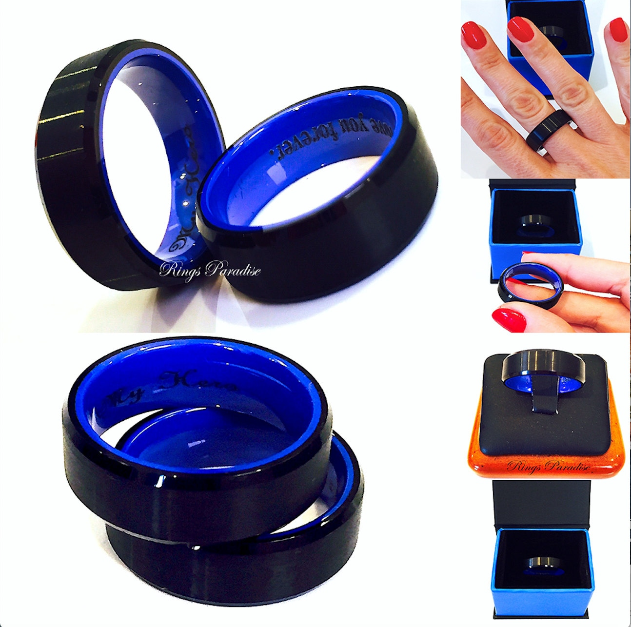 Tungsten Wedding Bands Men Engagement Ring Black Blue Mens