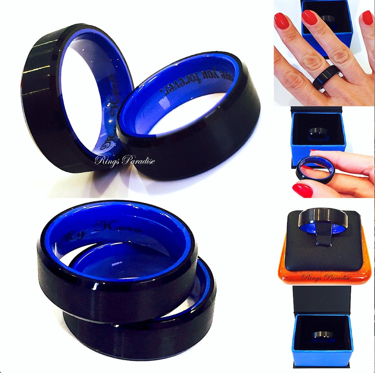 zoom - Black And Blue Wedding Rings