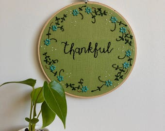 Thankful Embroidered Wall Artwork