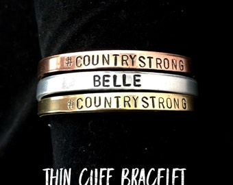 Thin Cuff Bracelet | Choose Your Metal | Personalized | Hand Stamped Jewelry | Gifts For Her
