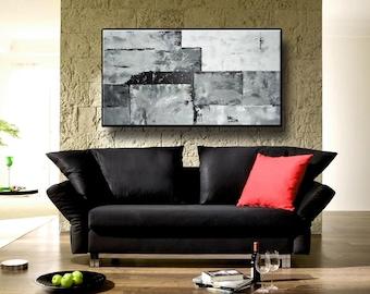 "48"" Black White Gray Original Abstract Large Acrylic  Painting Wall Art Modern Art Wall Art Home Decor Wall Hanging"