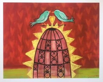 FIRST KISS, Limited Edition Giclée print, Bird Art, Romantic, Love Birds