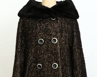 Boucle & Fur Pea Coat 1960s Winter Wear