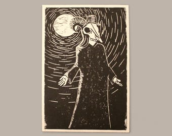 Welcome | Skull druid | Lino print | Original illustration