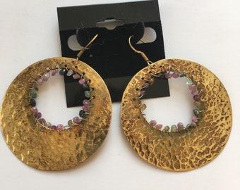 gold hoop and pastel bead earrings