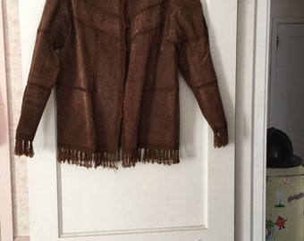 Vintage DRESSBARN Suede and crocthed jacket with fringe MEDIUM