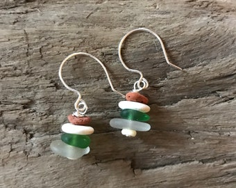 Green & Brick Cairn Earrings