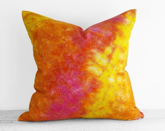 Colorful Pillow Case, Watercolor Pillows, Toss Pillows, 18x18, 20x20, Yellow Pillow Covers, Pink Orange Pillows, Ombre Cushion, Spring Decor