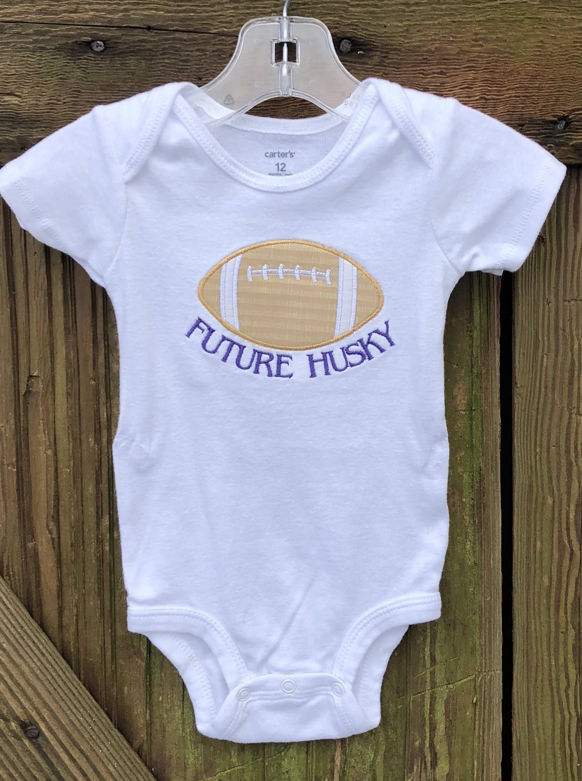 Husky baby appliqué onesie Husky baby clothes UW Huskies