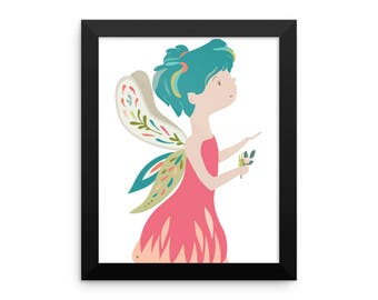 Girls Fairy Sprite Framed Art Print, 8 x 10