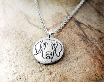 Tiny Weimaraner necklace, dog necklace, silver Weimaraner jewelry
