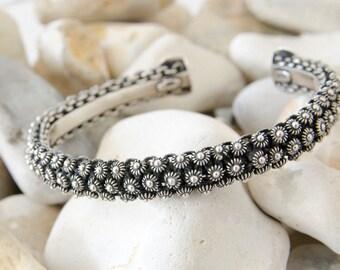 Sterling Silver Bangle, Boho Bracelet, Silver Cuff Bracelet, Bangles Band, Tribal Bangle, Boho Bangle, Gift For Her, Womens Gift, Boho Gift