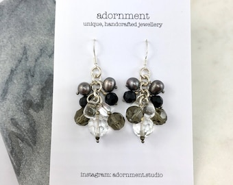 Black pearl and Crystal Cluster Earrings with Sterling Silver 925 Earring Hooks