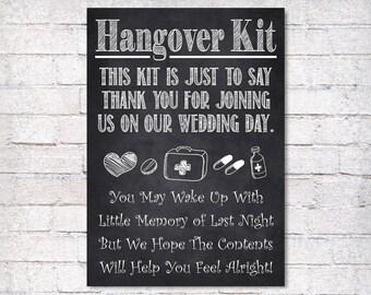 Chalkboard Wedding Sign, Printable Wedding Sign, Chalkboard Hangover Kit, Wedding Decor, Wedding Signage, Instant Download
