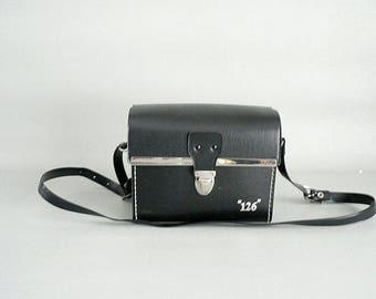 Small Black Leather Shoulder Bag Camera Case Vintage 1970s