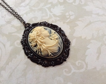 Lovely Ivory Cameo Resin And Brass Necklace