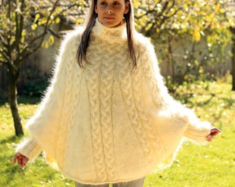 Hand Knitted Mohair Poncho Cable Fuzzy Sweater Turtleneck Off White - Made to Order - by Extravagantza
