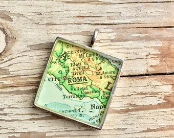 Rome Italy Square Silver Map Charm, Map Pendant, Map Jewelry, Rome Souvenir