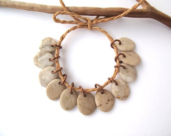 Rock Charms Beach Stone Beads Small Pebble Beads Jewelry Findings Mediterranean River Rock Beads Pairs Copper SMOOTH MIX 14-15 mm