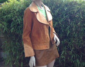 ORIGINAL 60s 70s tan whipstitched leather hippie cowgirl round collared jacket S M uk 8 10