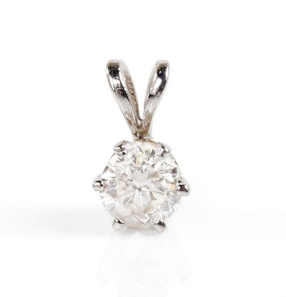 Diamond pendant 04 ct white gold necklace 14k gold diamond like this item mozeypictures Image collections