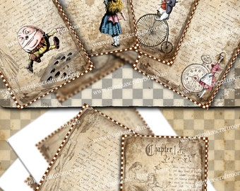 Alice Digital Paper Alice in Wonderland printable cards 4x6 inches Instant download alice party images background paper decorations
